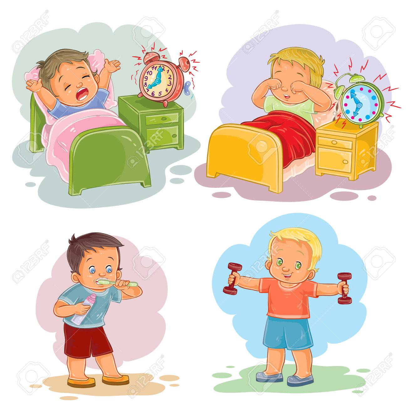 Clip Art Il Rations Of Little Children Wake Up In The Morning Stock Vector 70082176