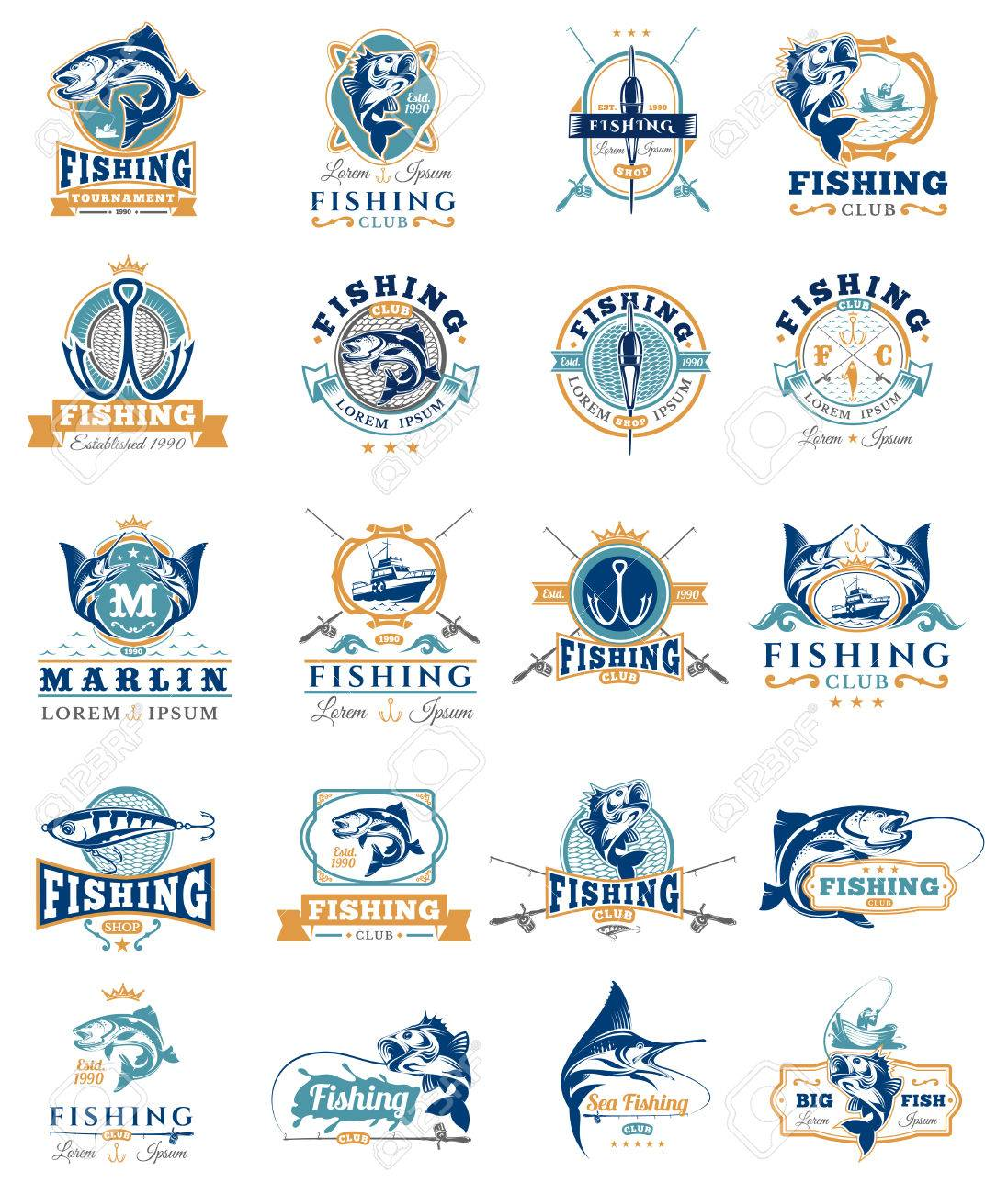 Set of vector badges, stickers on catching fish. - 70670661