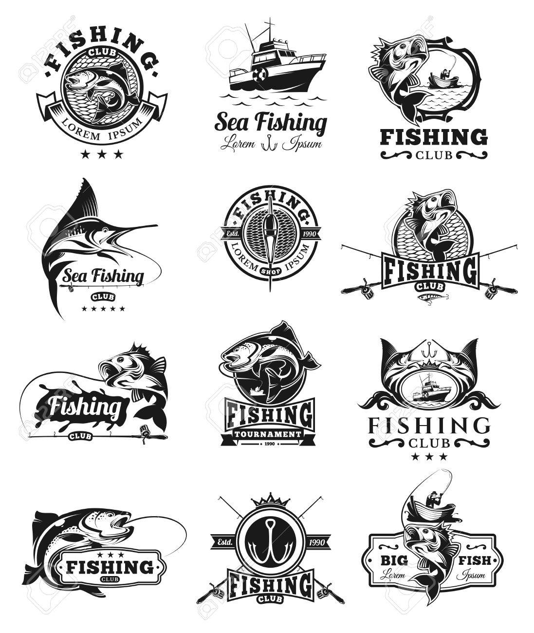 Set of vector badges, stickers on catching fish. - 70670663
