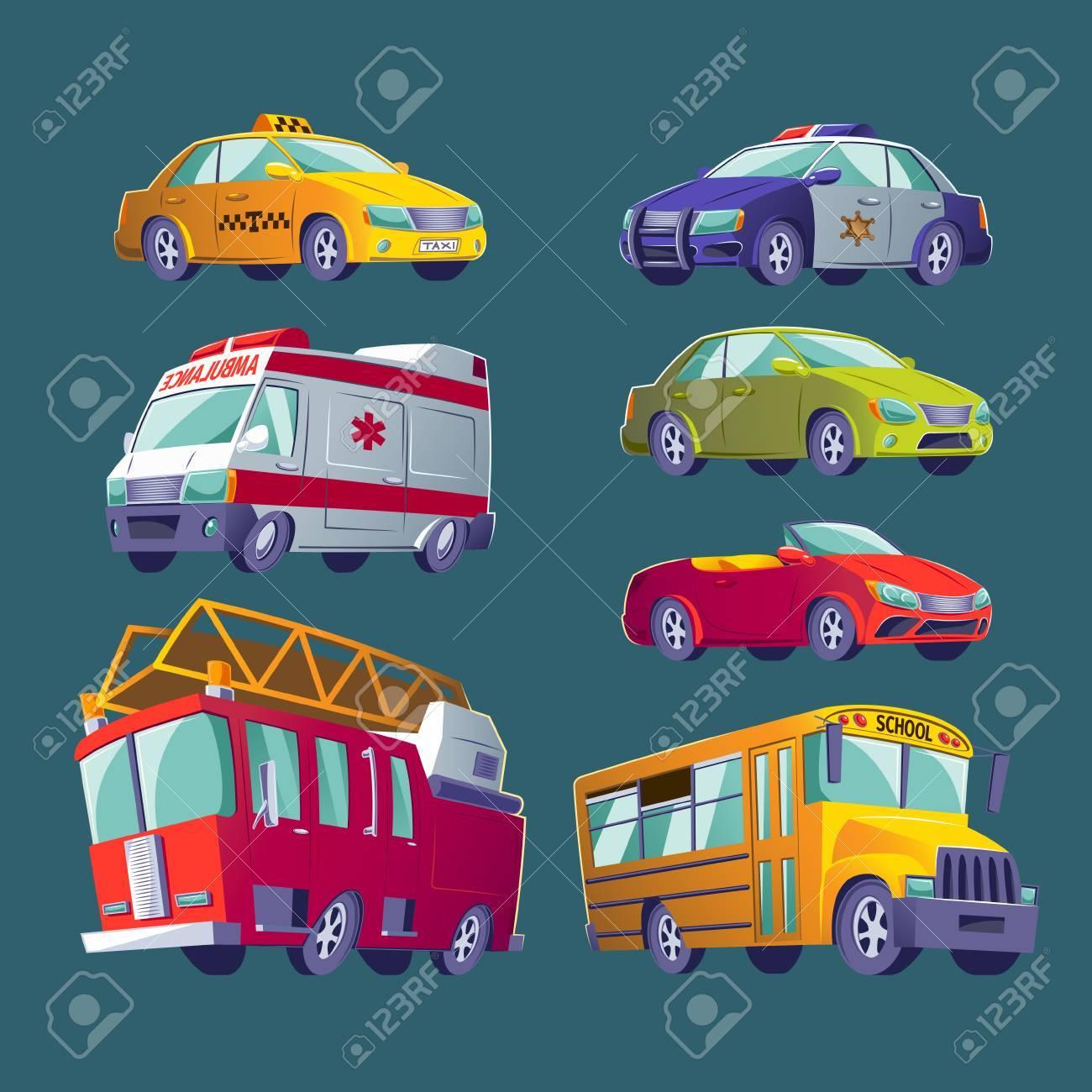 Jeu De Dessin Anime D Icones Isolees Du Transport Urbain Camion
