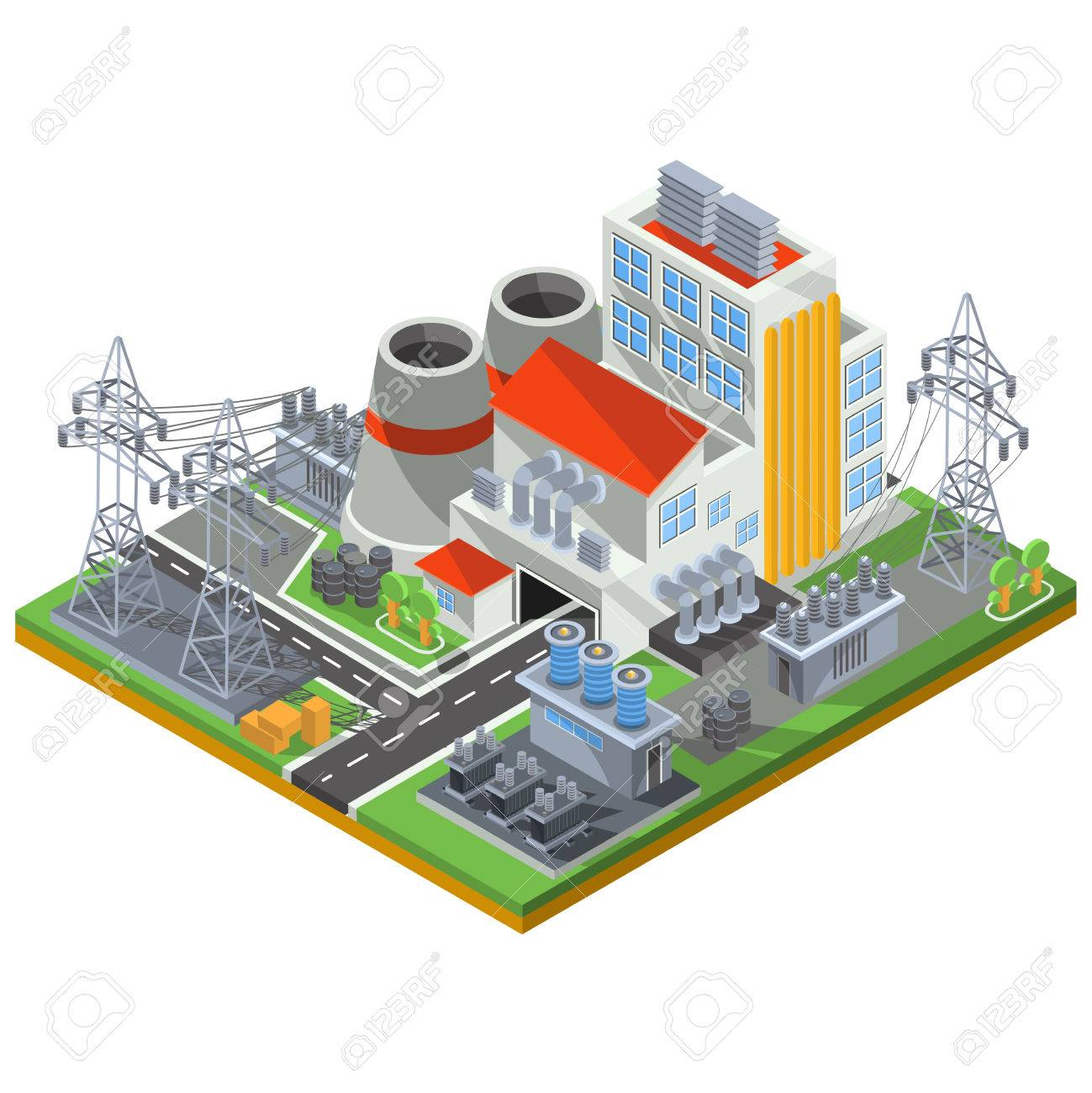 Vector isometric illustration of a thermal power plant for the vector isometric illustration of a thermal power plant for the production of electrical energy stock vector sciox Image collections