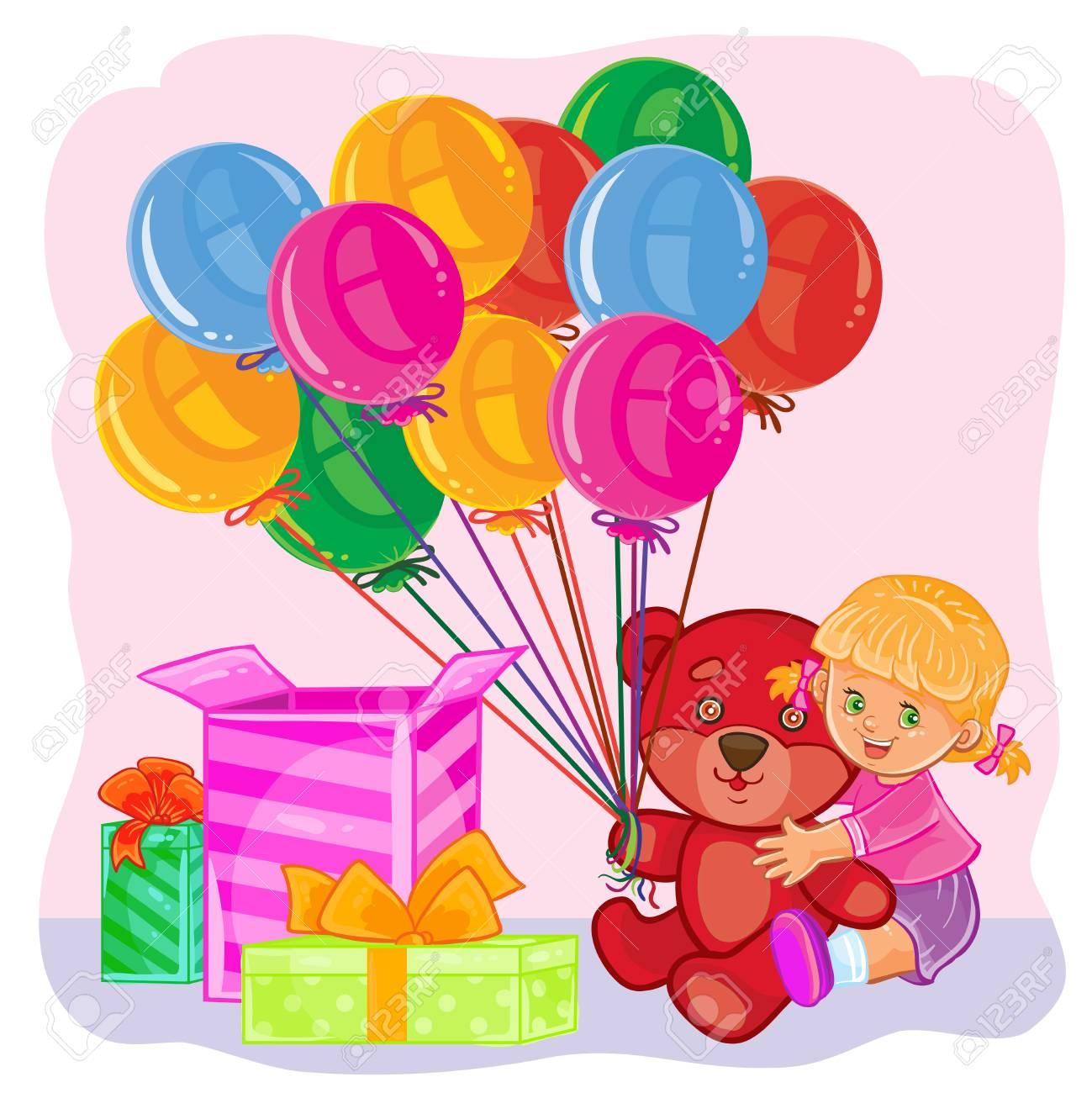 Illustration D Une Petite Fille Ouvre Des Cadeaux Modele De Carte De Voeux Joyeux Anniversaire Banque D Images Et Photos Libres De Droits Image 73956425