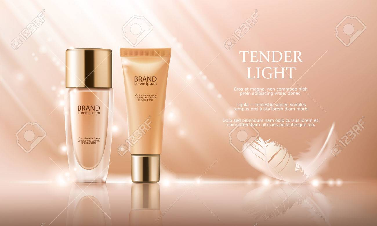 Vector 3D cosmetic illustration for the promotion of foundation premium product. Colorstay make-up in glass bottle and tube on a soft beige background with a feather - 73966075