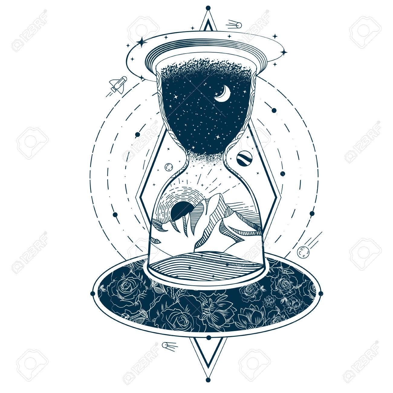 Vector vector illustration of a sketch of an abstract tattoo with an hourglass enclosing the sky and the earth against the background of an infinite