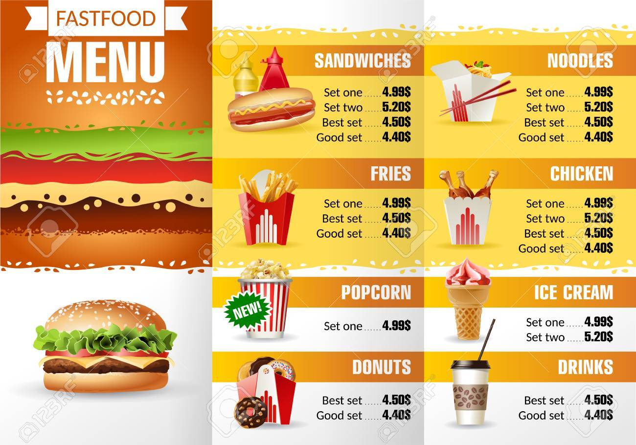 Illustration Design Menu Fast Food Restaurant Brochure Template - Food brochure templates