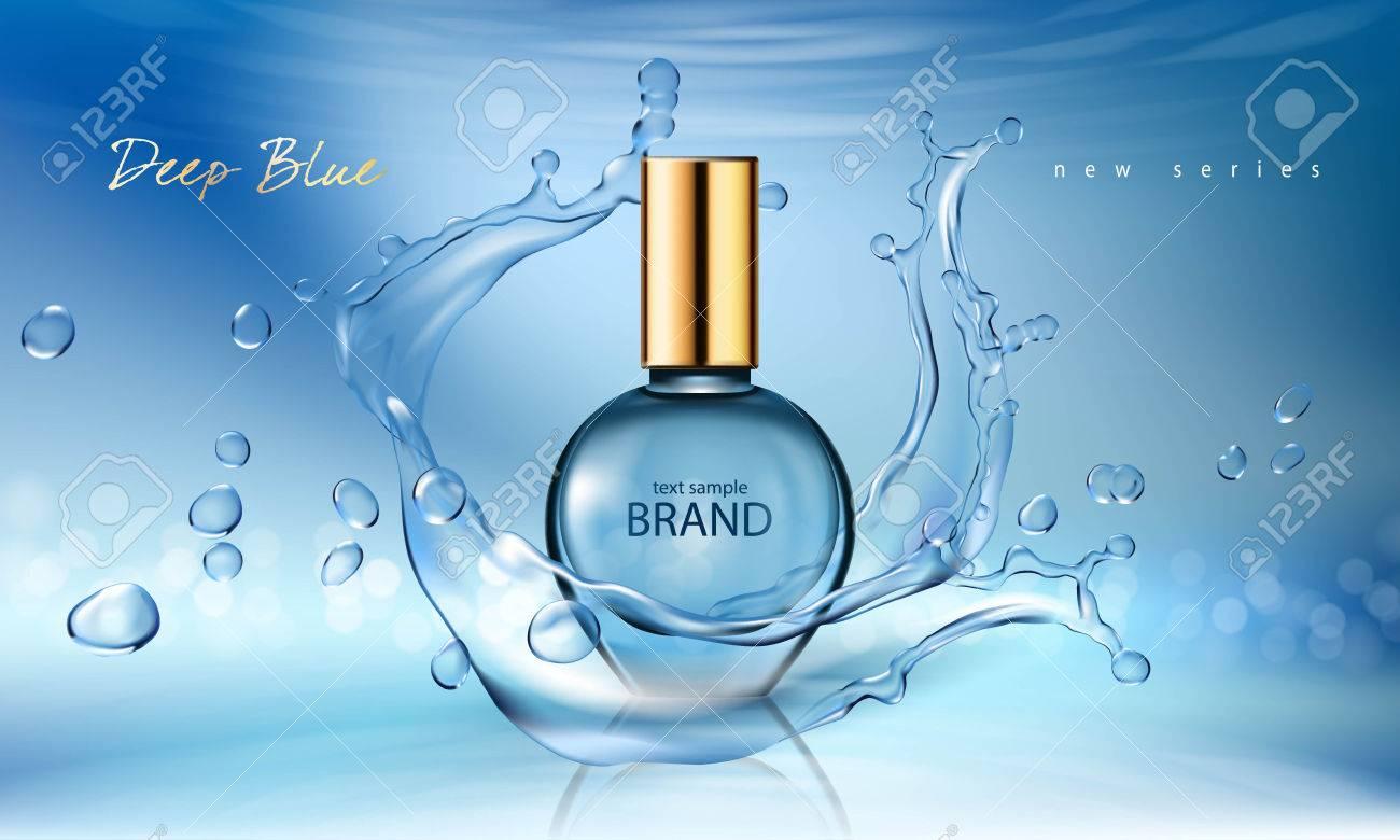 Bleu Une Illustration En Avec Verre Un D'eauGrande Affiche Sur Éclaboussures Dans Fond Bouteille D'un De Vectorielle Des Réaliste Style Parfum 0wvNnO8m