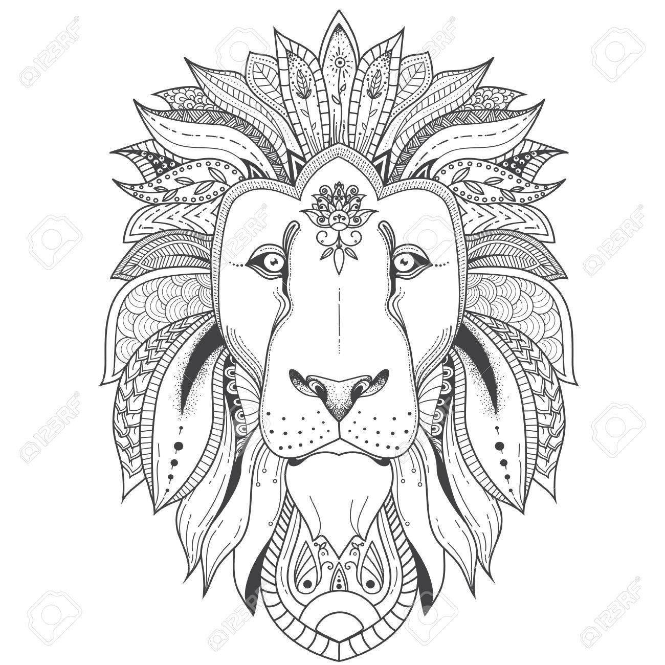 Ilustración De León Con Patrones De Mandala Tribales. Úselo Para ...