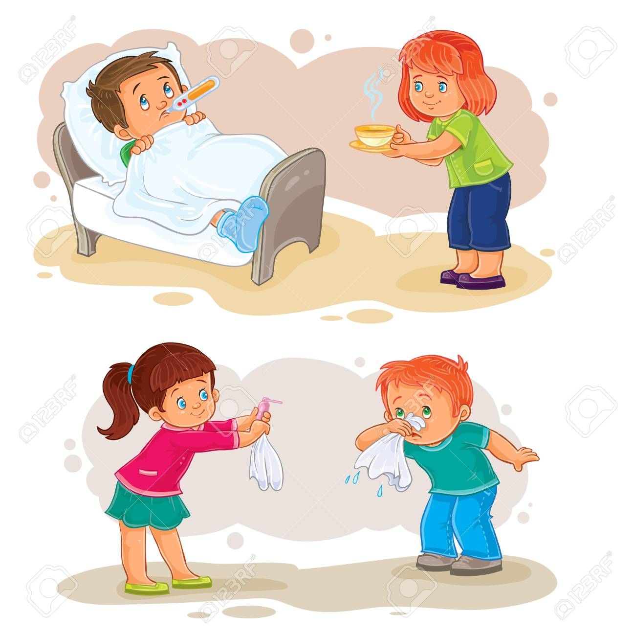 Set Of Clip Art Illustrations Little Boy Sick And Compassionate Stock Photo Picture And Royalty Free Image Image 75551018
