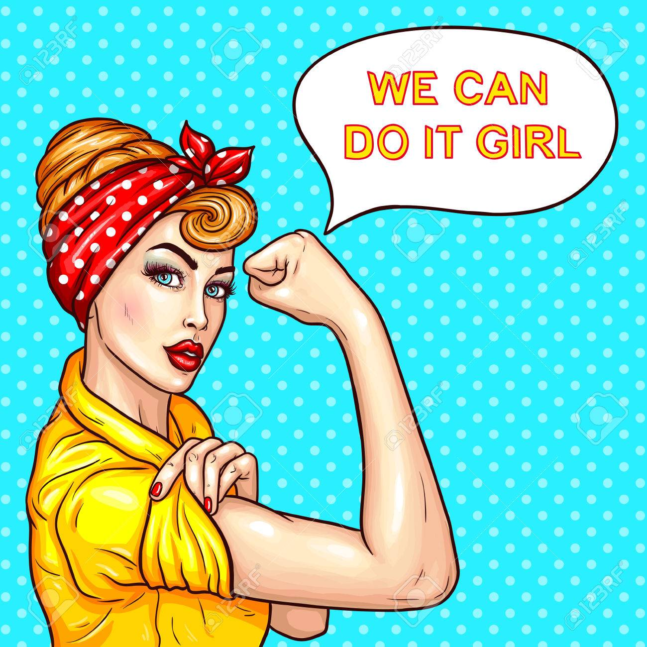 Vector Vector Pop Art Illustration Of An Attractive Confident Woman Housewife Demonstrating Her Strength By Roll Up Her Sleeve Motivating Poster With A
