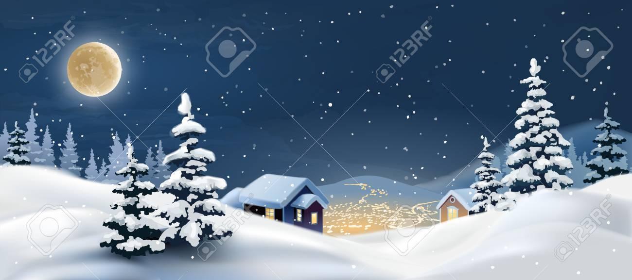 冬の風景のイラストです雪に覆われたクリスマスの夜 の写真素材