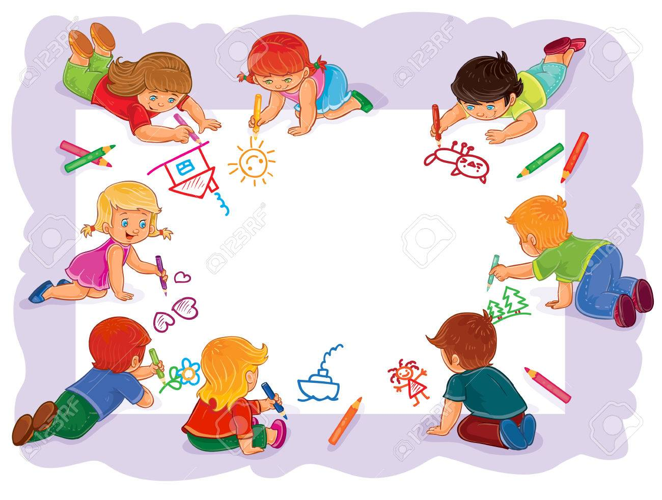 Illustration Of Happy Children Draw On A Large Sheet Of Paper ...