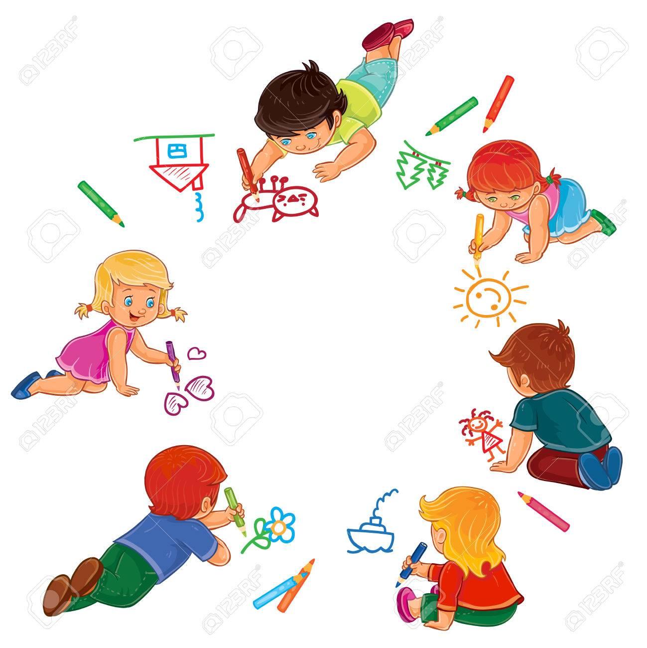 Illustration Vectorielle Des Petits Garçons Et Filles Dessiner Avec Des Crayons De Couleur Impression