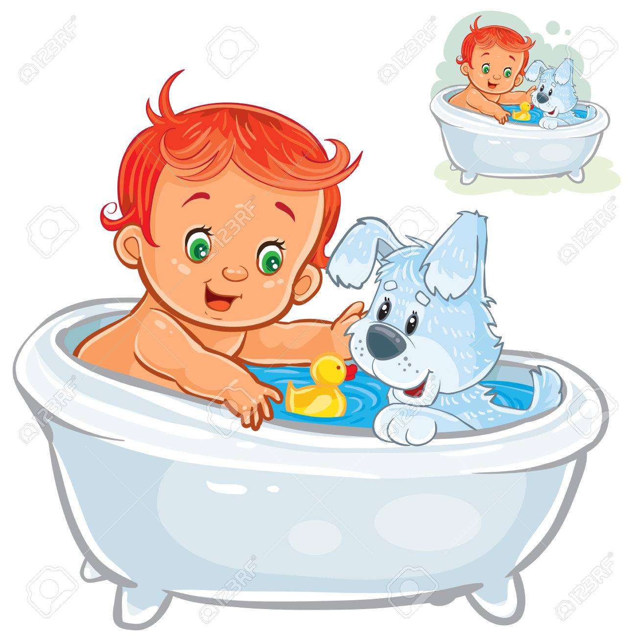 Baby Playing With Dog In Bathtub - Best Bathtub 2018