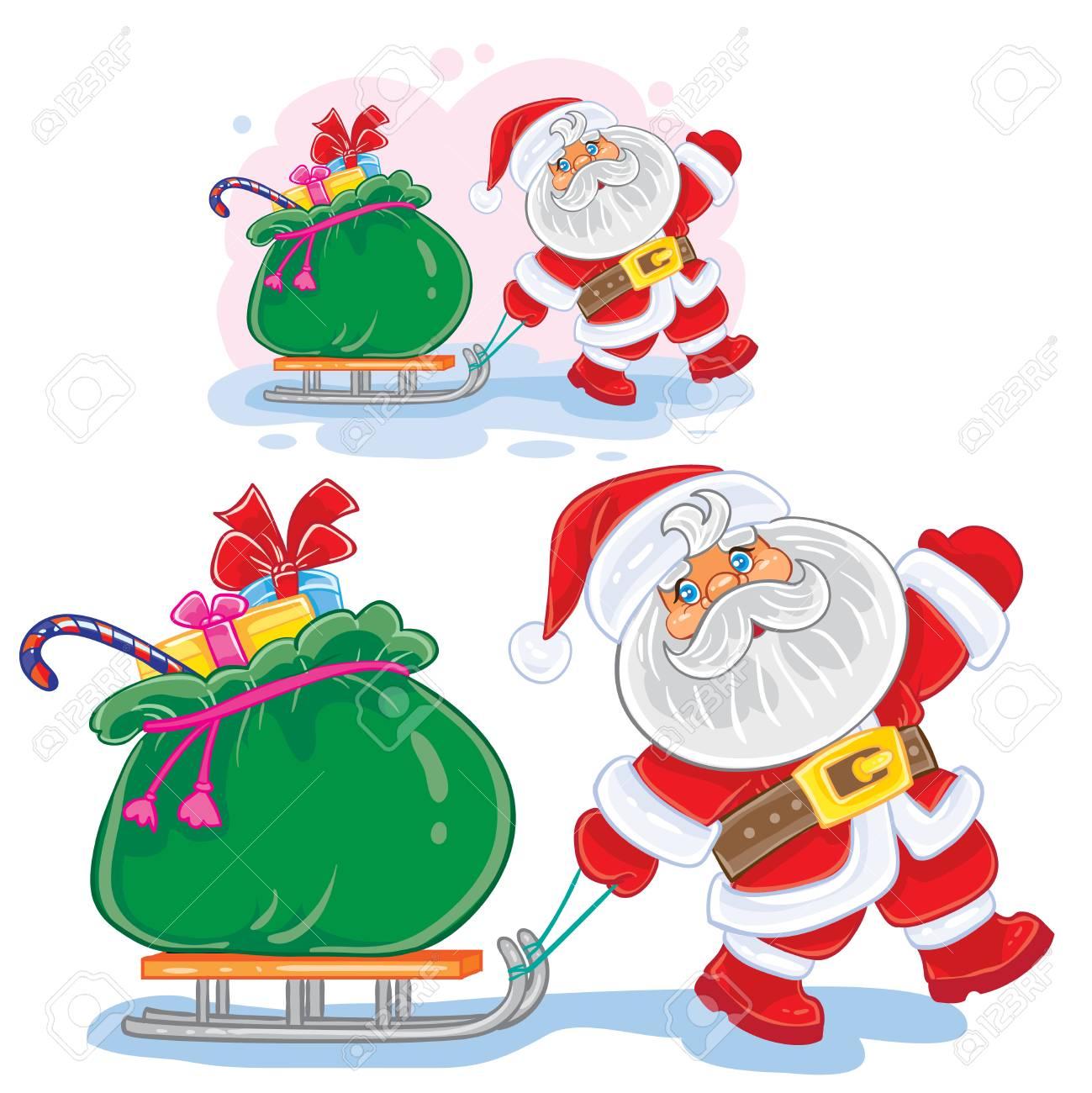 fabriquer untraineau du pere noel Banque du0027images - Vector hiver Noël, illustration de la nouvelle année Le père  Noël tire un traîneau avec un sac de cadeaux.