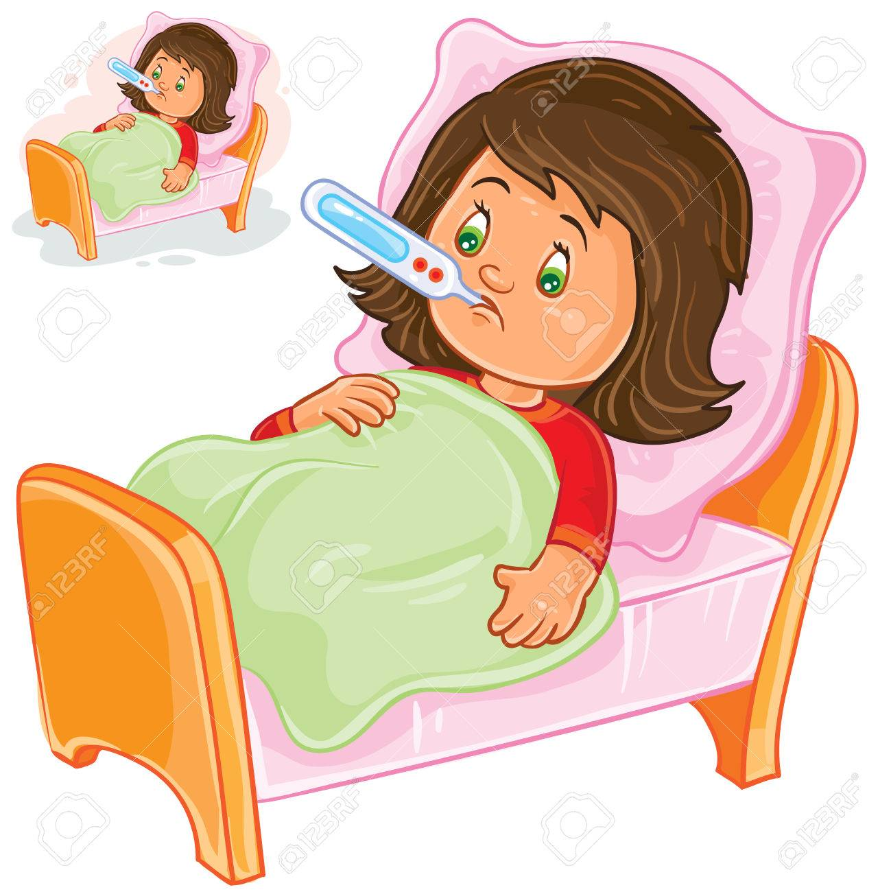 vector illustration of a sick little girl lies in bed with a rh 123rf com sick clipart pictures sink clipart