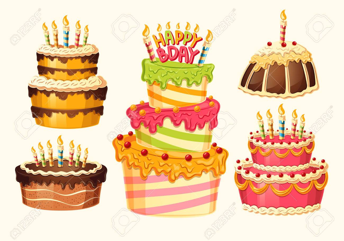 Collection of vector cartoon birthday cakes with candles design collection of vector cartoon birthday cakes with candles design elements templates for greeting cards filmwisefo