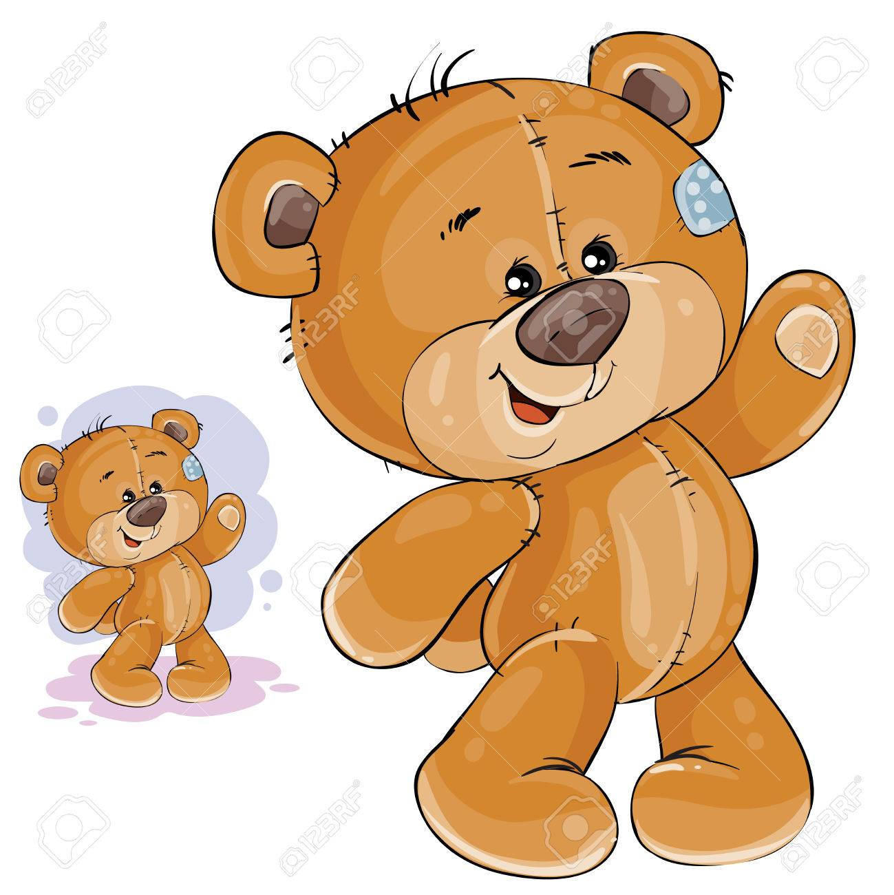 Vector clip art art illustration teddy bear waving its paw. Print, template, design element - 77628583