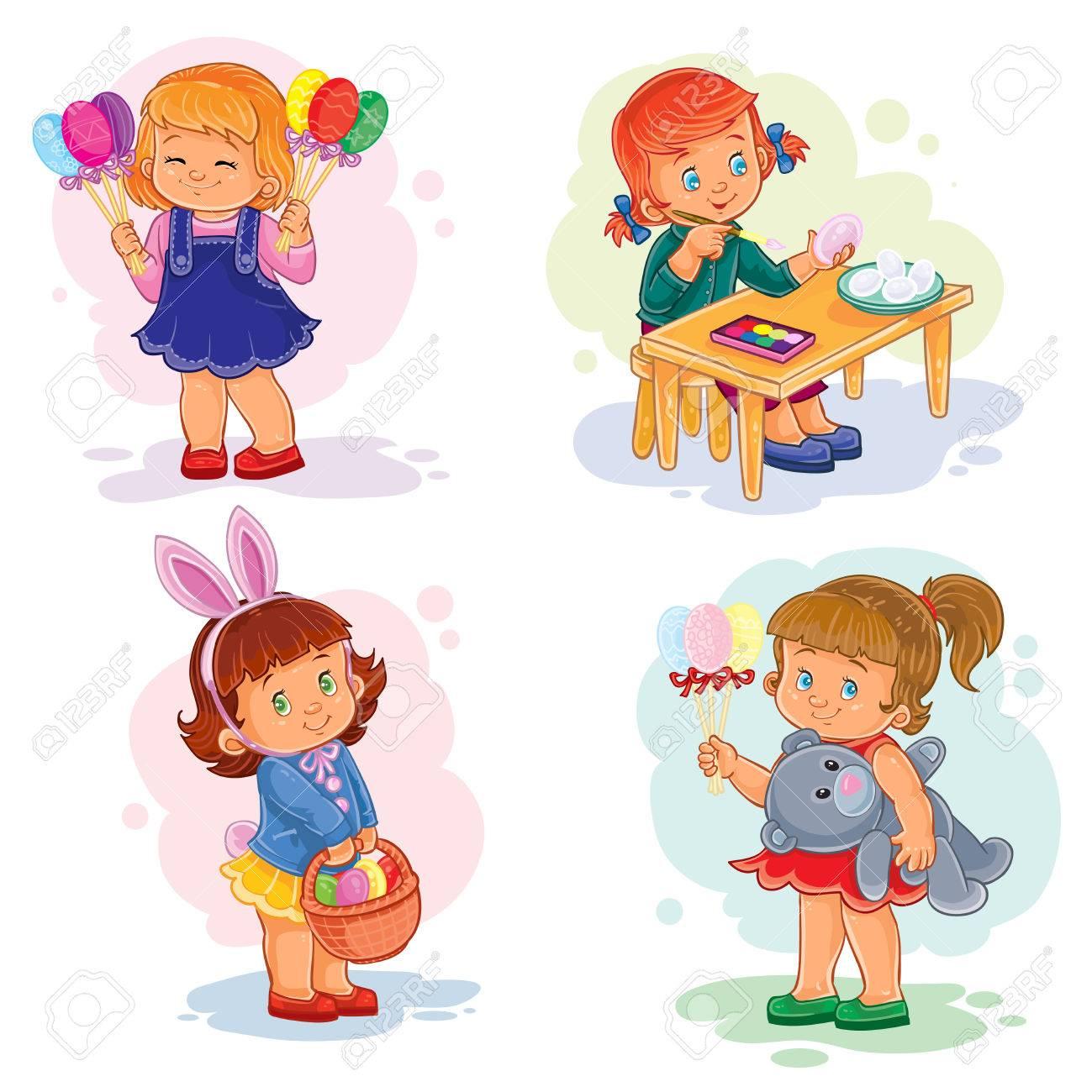 Ensemble D Illustrations Clipart Avec De Jeunes Enfants Sur Le Theme De Paques Banque D Images Et Photos Libres De Droits Image 77827966