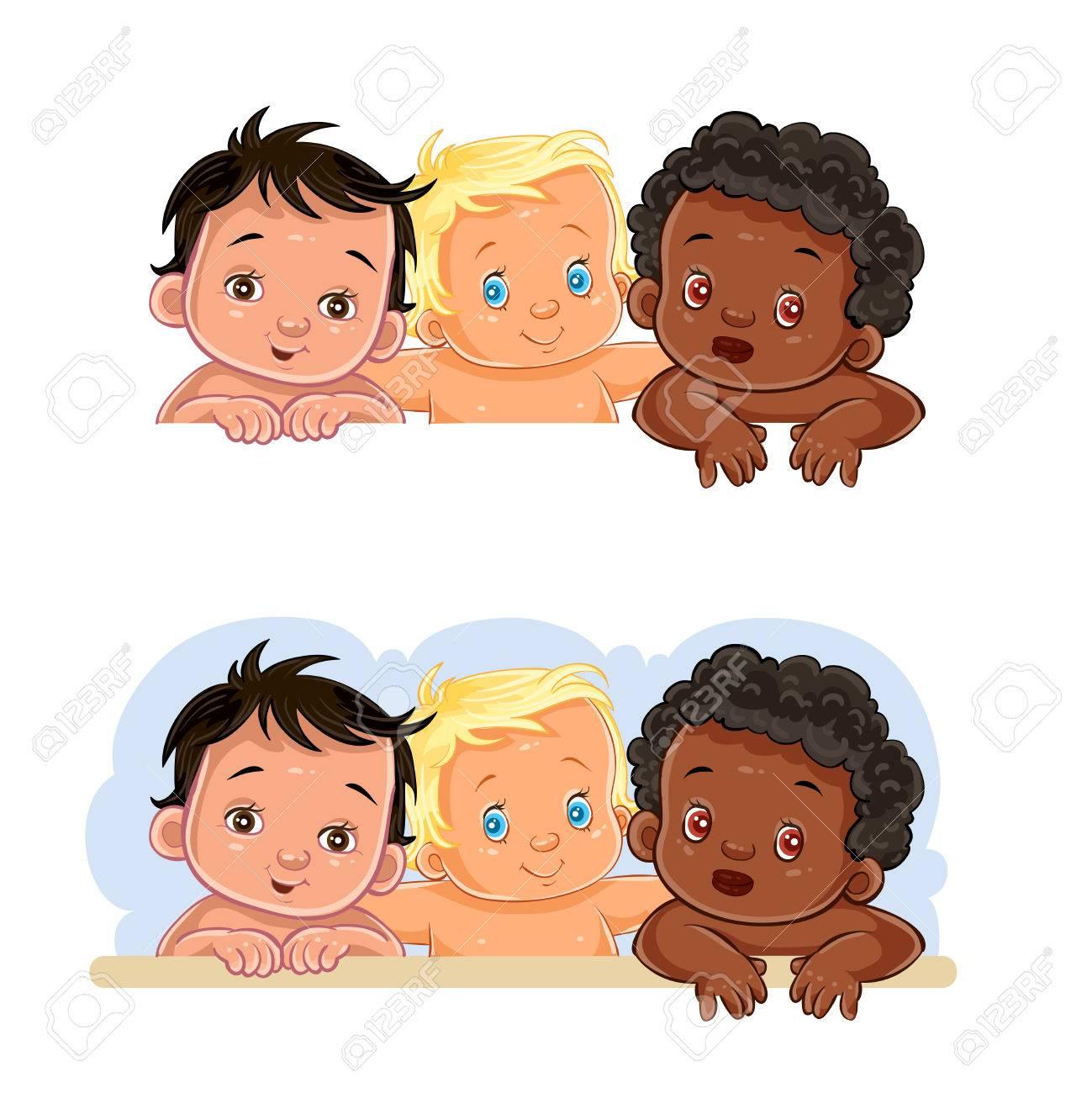 Set Von Vektor Cliparts Illustrationen Von Kleinen Kindern