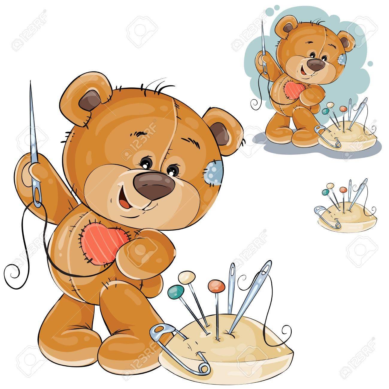 Vector Illustration Eines Teddybären, Der An Ihr Einen Roten Flecken ...