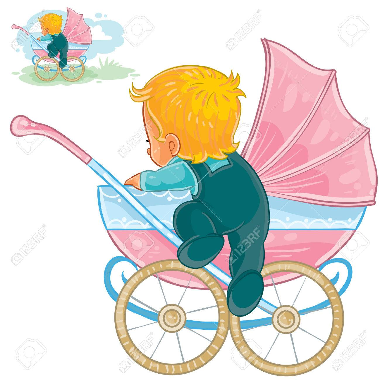 vector clip art illustration of little baby crawls out of a baby rh 123rf com baby buggy clip art free baby buggy clip art free