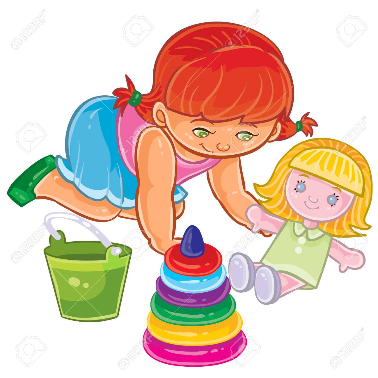 ベクトル床に座っている若い女の子のイラスト人形と遊ぶのイラスト