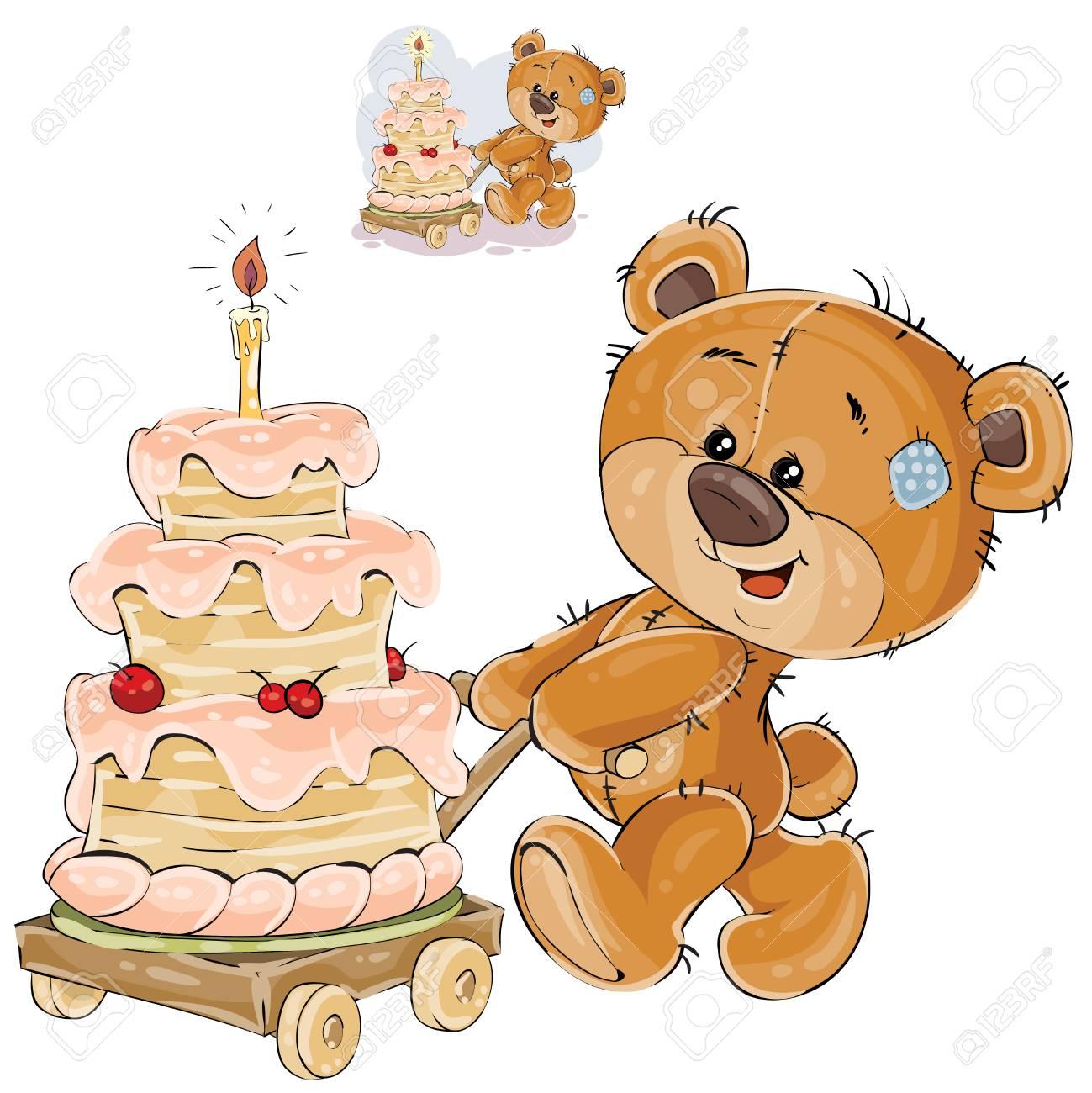 Foto de archivo - Vector el ejemplo de un oso de peluche marrón que rueda  un carro con un pastel de cumpleaños. Imprimir 717f85dc6c7
