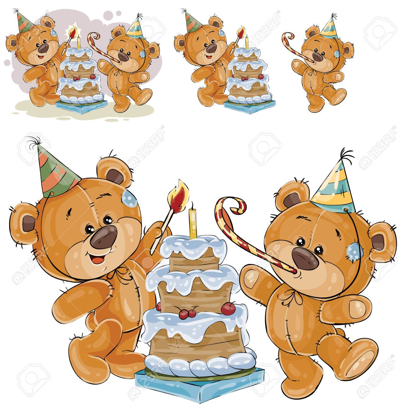 Vector Illustration Of Two Brown Teddy Bears In Cardboard Hats ...