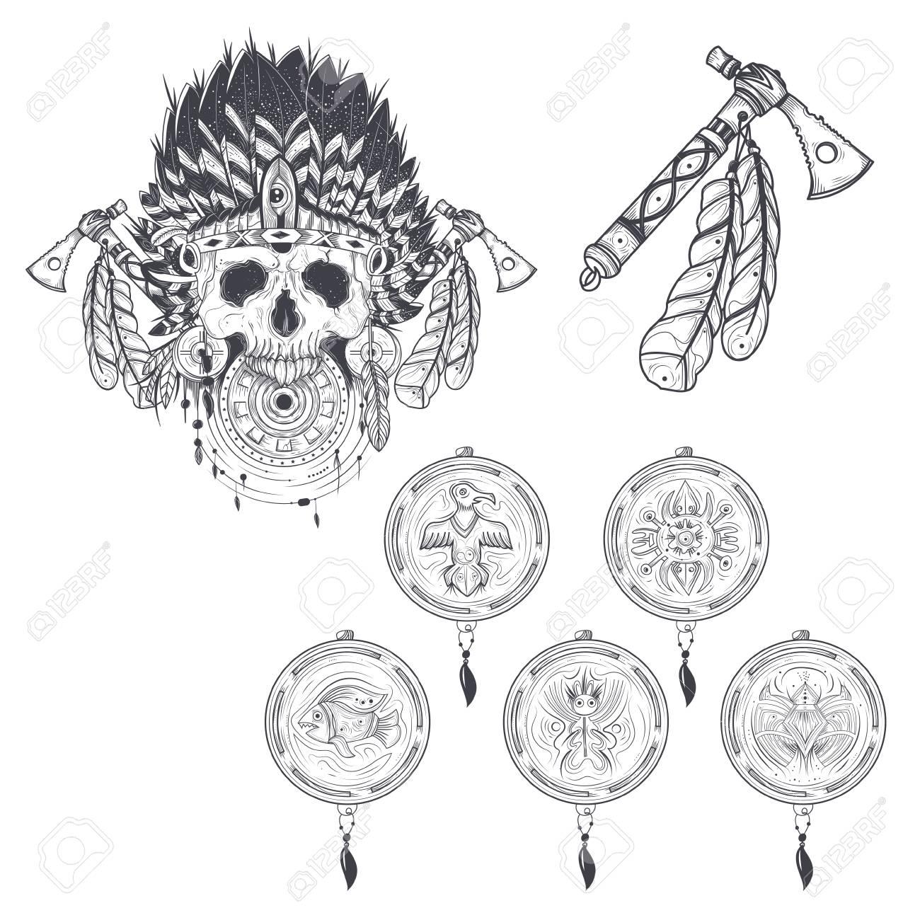 Conjunto De Ilustraciones Vectoriales De Plantillas Para Un Tatuaje ...