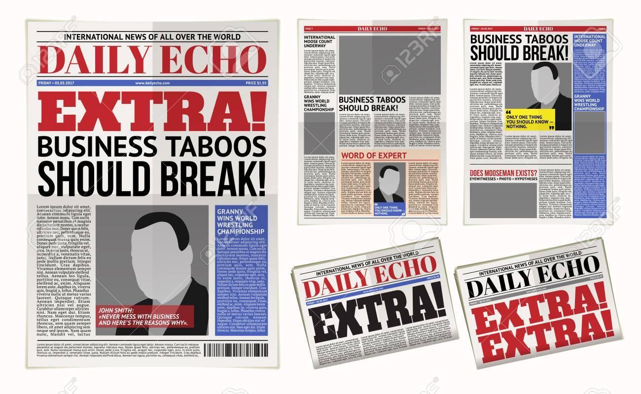 Ilustración De Vector De Una Plantilla De Periódico Diario, Tabloide ...