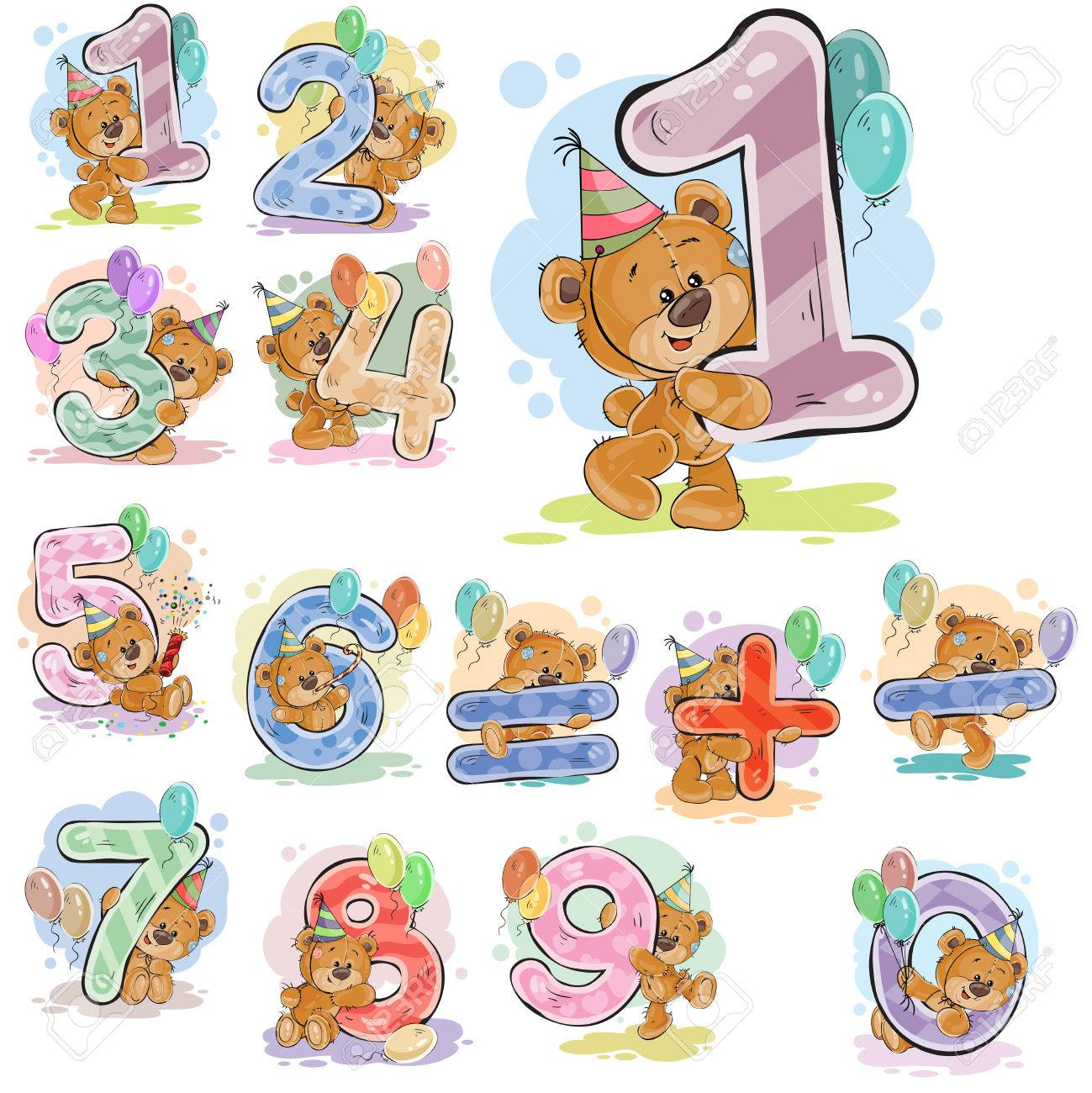 A set of vector illustrations with a brown teddy bear and numerals and mathematical symbols. - 78787082