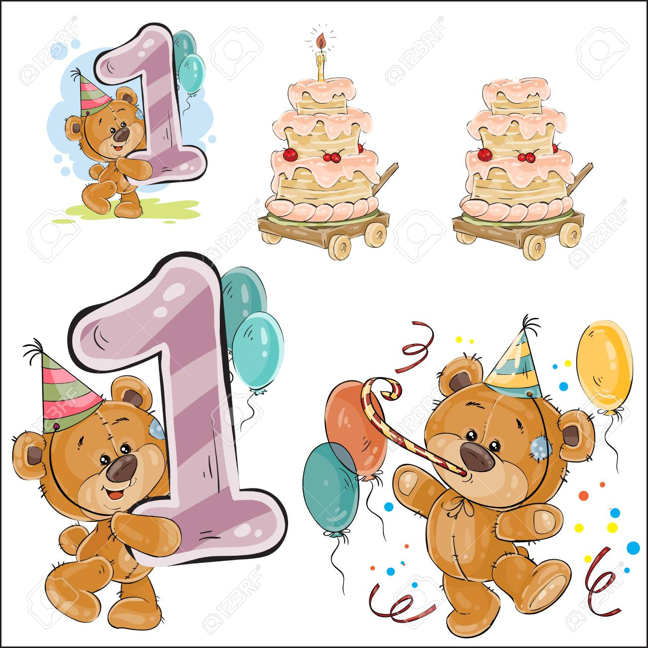 Set Of Vector Illustrations With Brown Teddy Bear, Birthday Cake ...