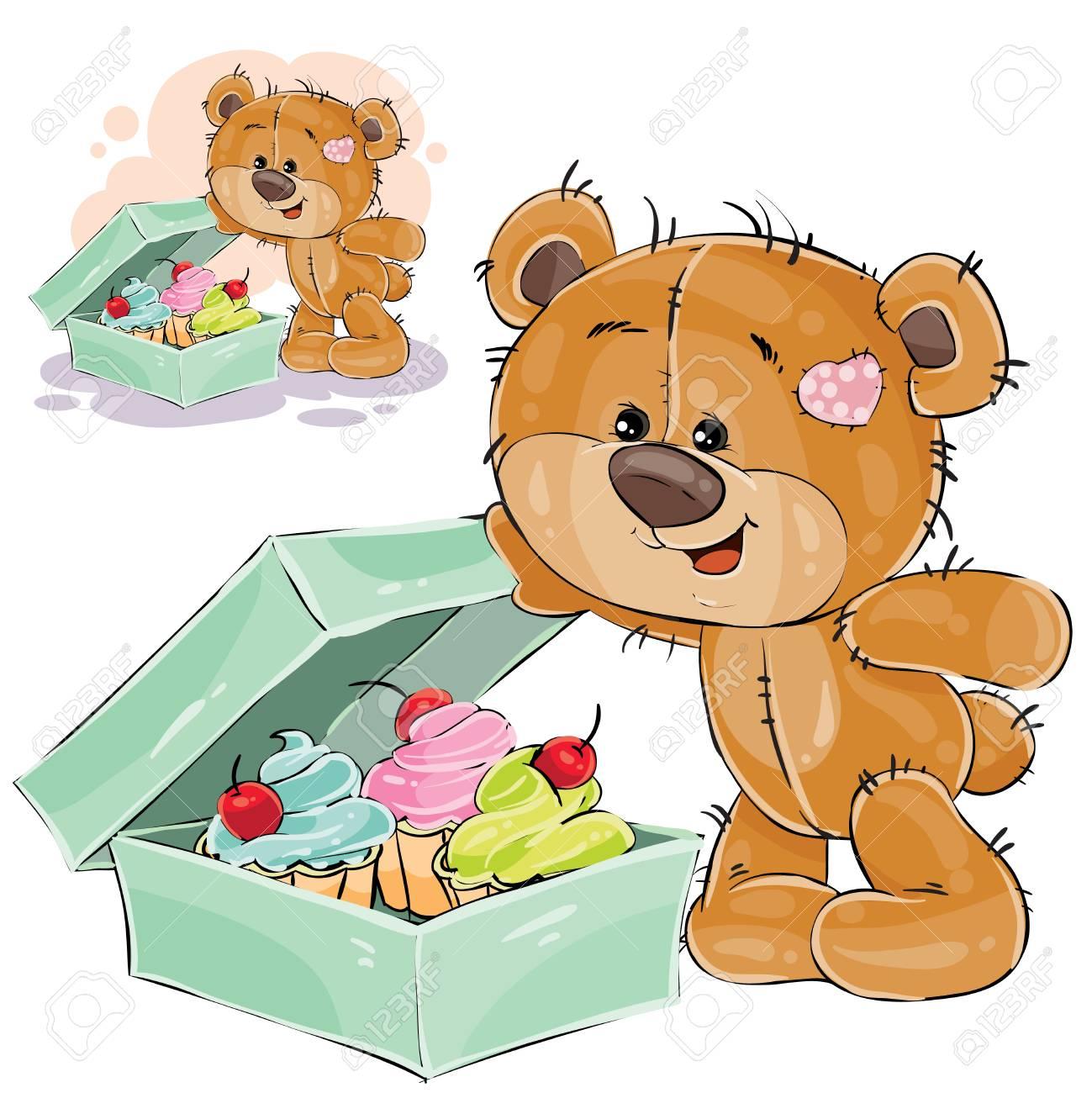 Vektor Illustration Eines Braunen Teddybarnusses Offnete Einen