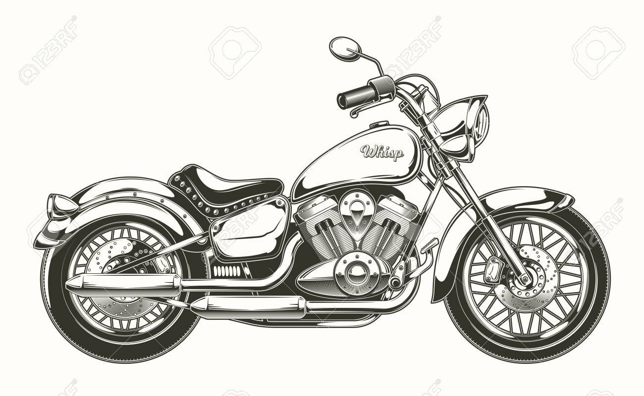 vector illustration of hand drawn vintage motorcycle classic