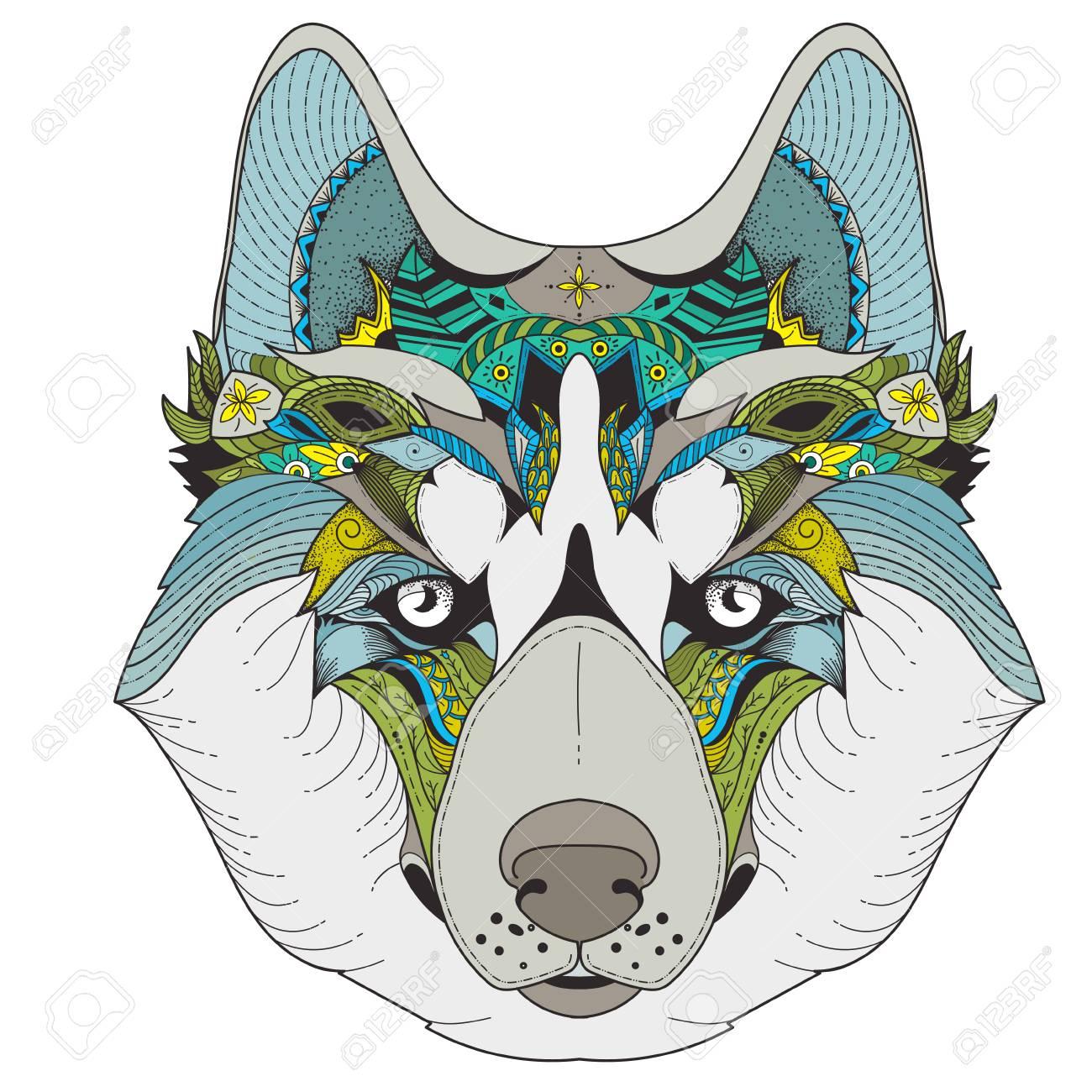 Ilustración De Zenart De Color De Husky Con Patrones De Mandala ...