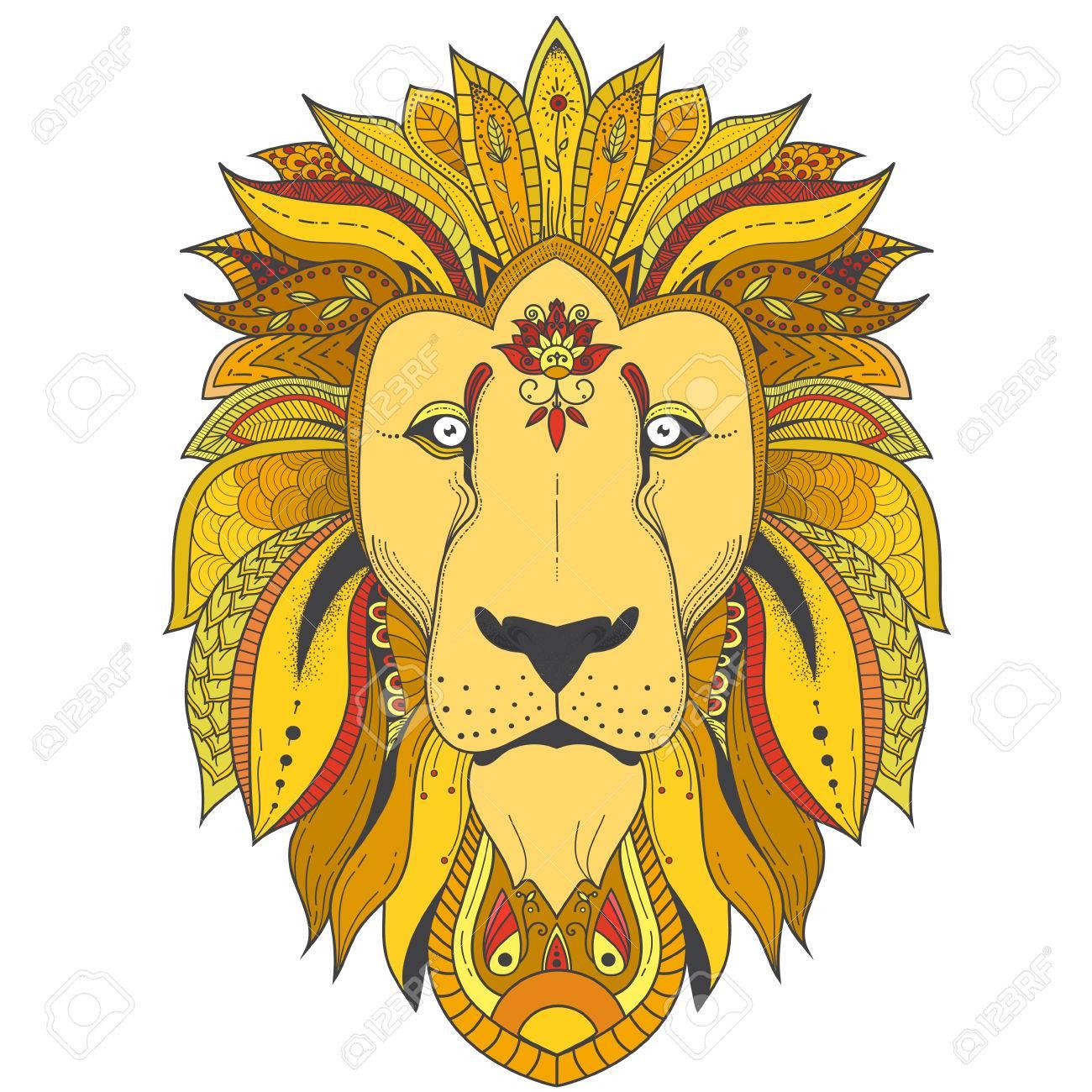Farbe Zenart Illustration Des Löwen Mit Stammes Mandala Muster