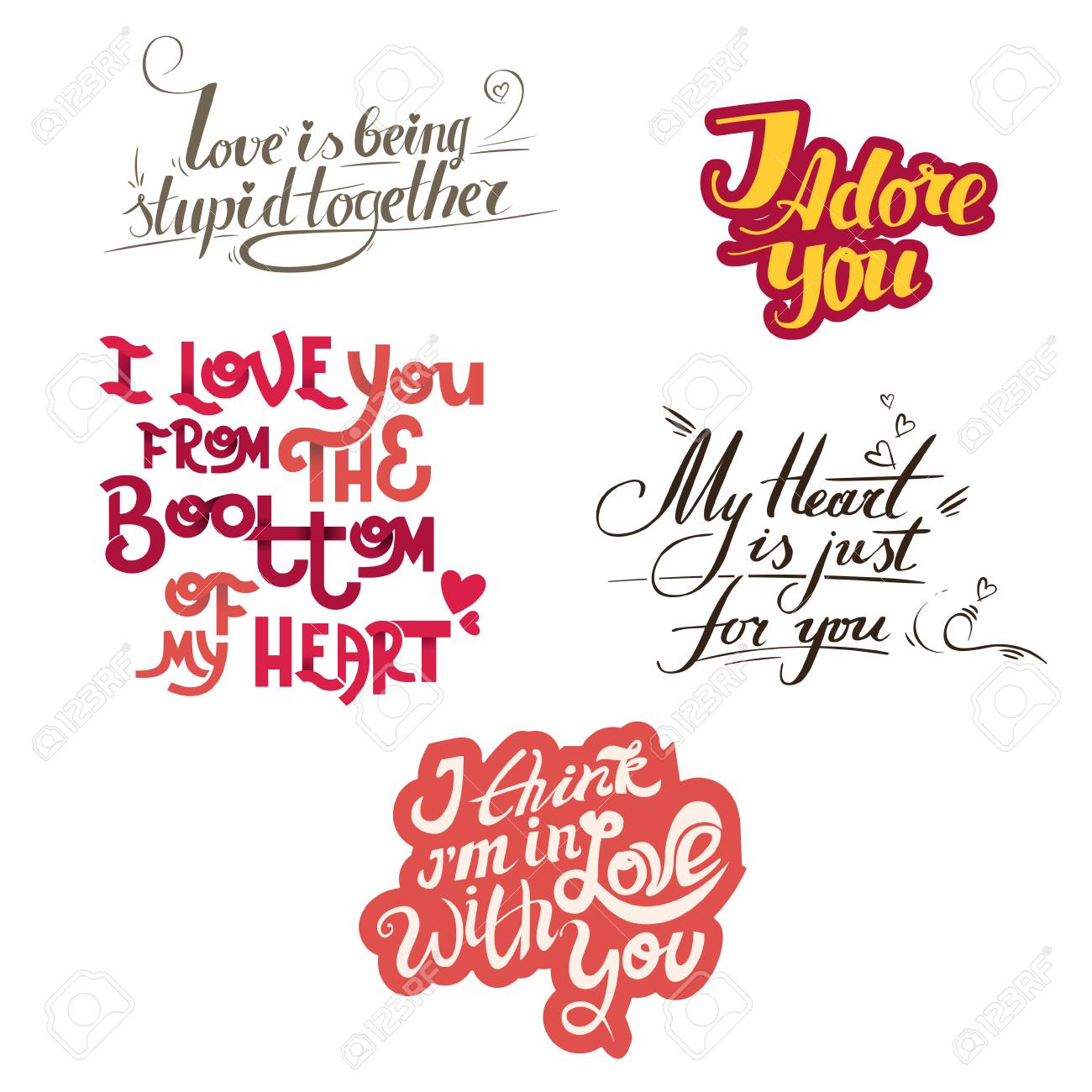 Lettering Collection With Quotes About Love Hand Maid Lettering