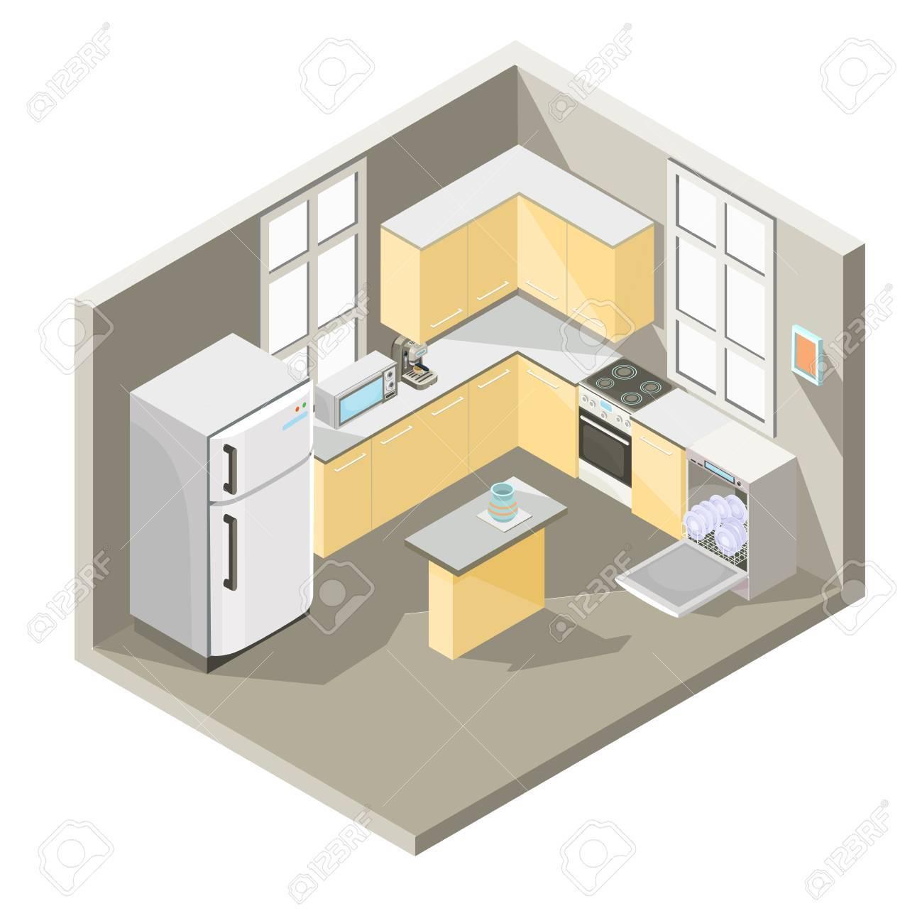 Isometrische Illustration Design Einer Küche Mit Esstisch ...
