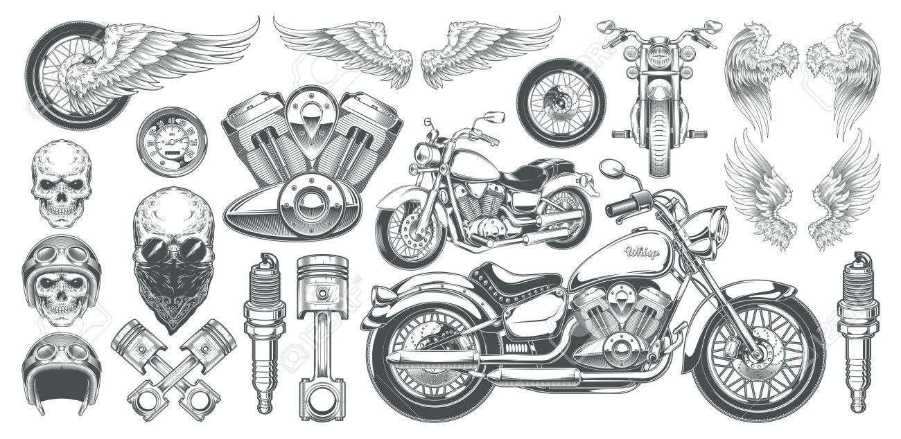 Set of illustrations, icons of hand-drawn vintage motorcycle in various angles, skulls, wings in the style of engraving. Classic chopper in ink style. Print, engraving, template, design element - 80150544