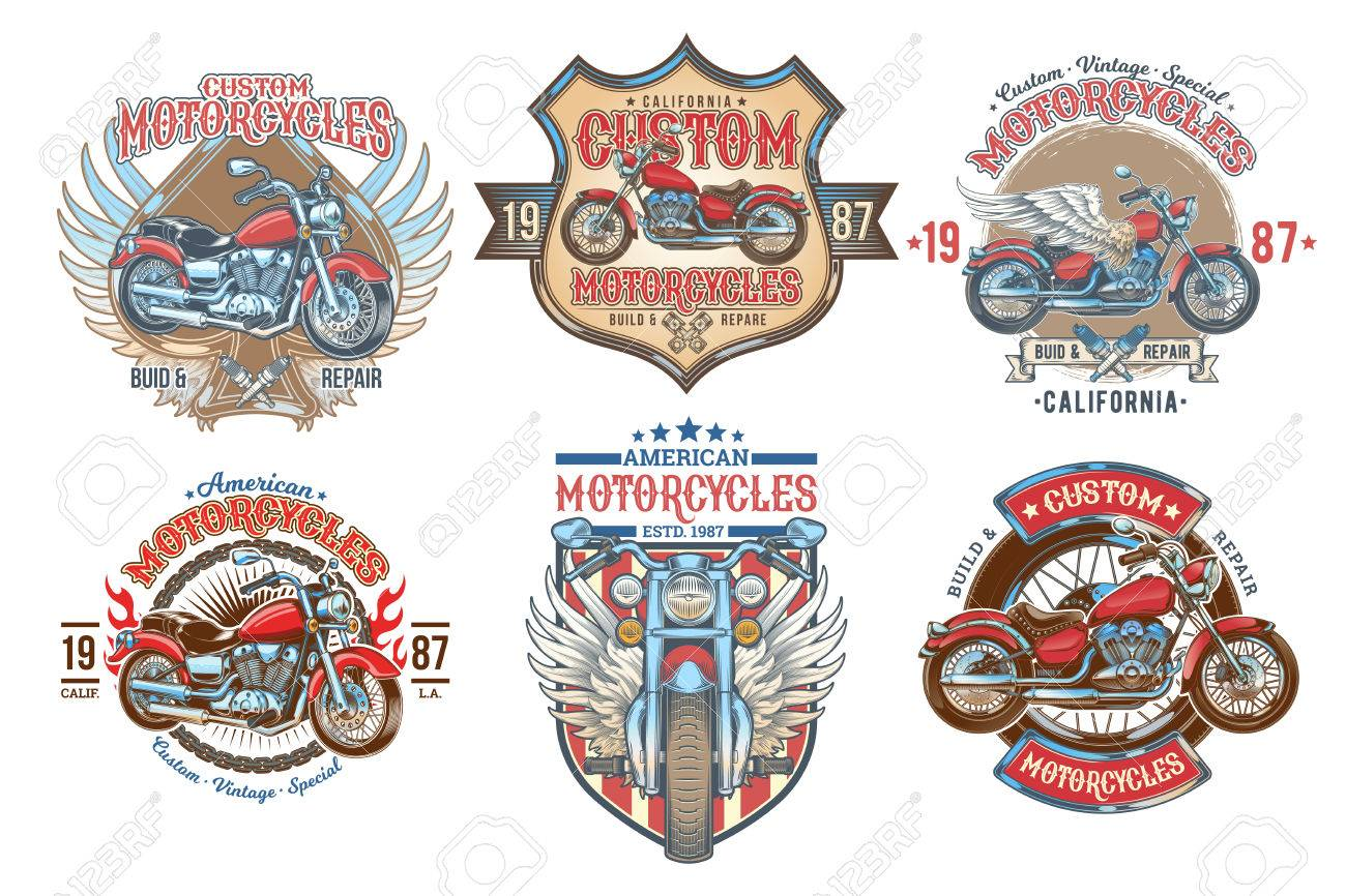 Set Vector Color Vintage Badges, Emblems With A Custom Motorcycle ...