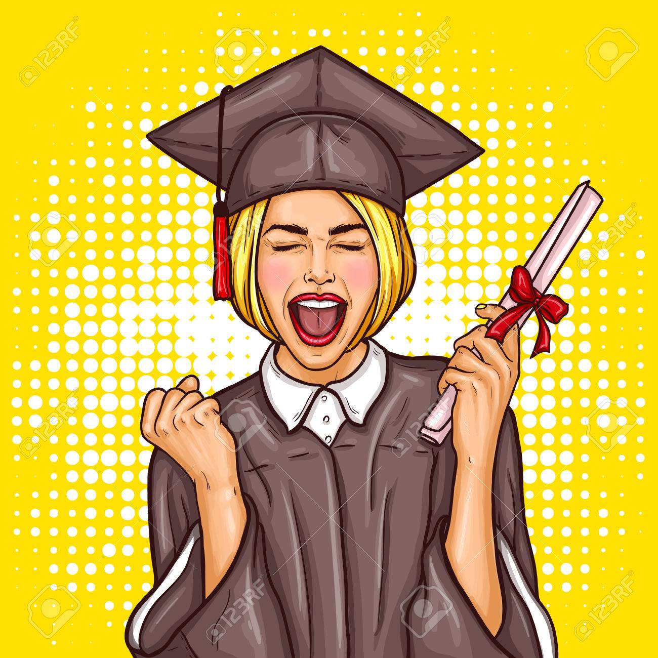 79a94cb7bf7 Illustration - pop art illustration of an excited young girl graduate  student in a graduation cap and mantle with a university diploma in her  hand.
