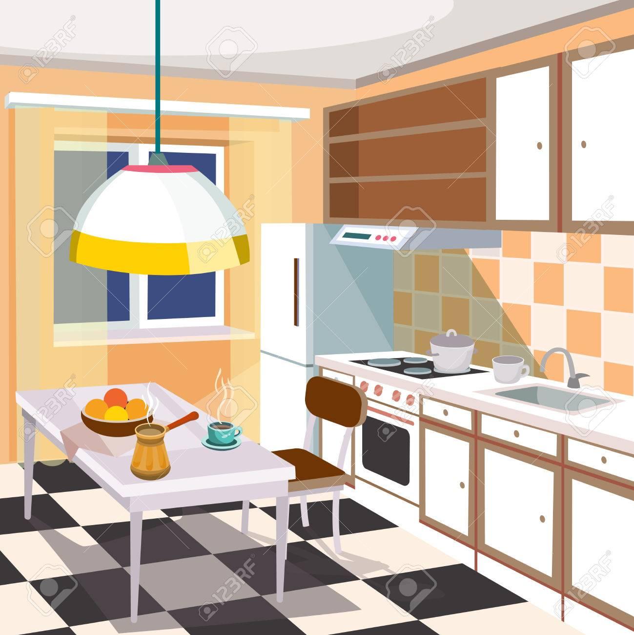 Großartig Retro Küche Ideen Von Standard-bild - Vector Cartoon Tration Eines Retro-küche