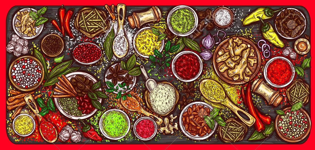 Vector illustration of a variety of spices and herbs on a wooden background, top view. Template, design element - 83393120