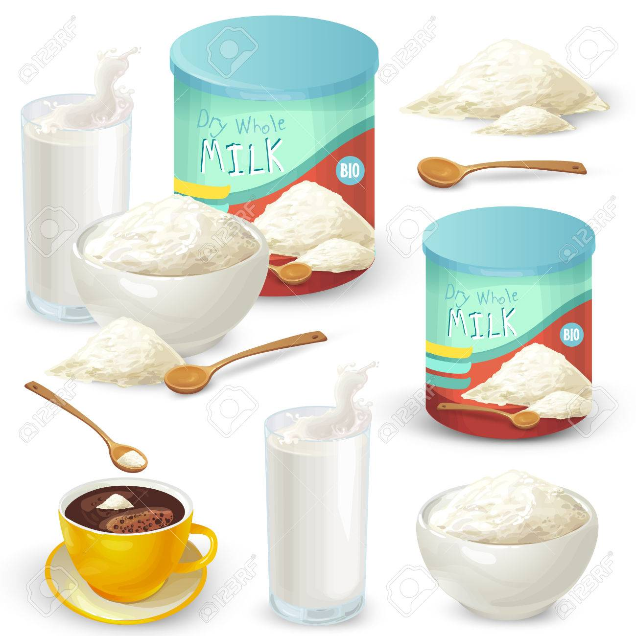 Vector set of cartoon illustration of milk powder in a closed aluminum can and poured into a bowl, a glass of prepared instant milk and the addition of milk powder into a cup of tea, coffee. - 84812903