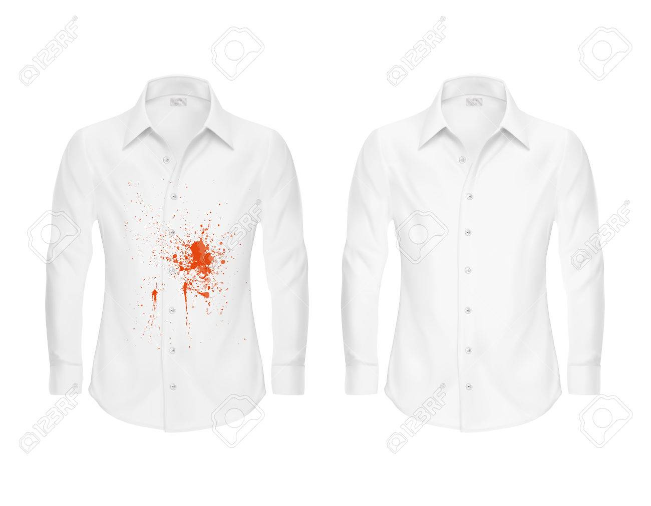 Set of vector illustrations of a white shirt with a red stain from ketchup d51497b923999