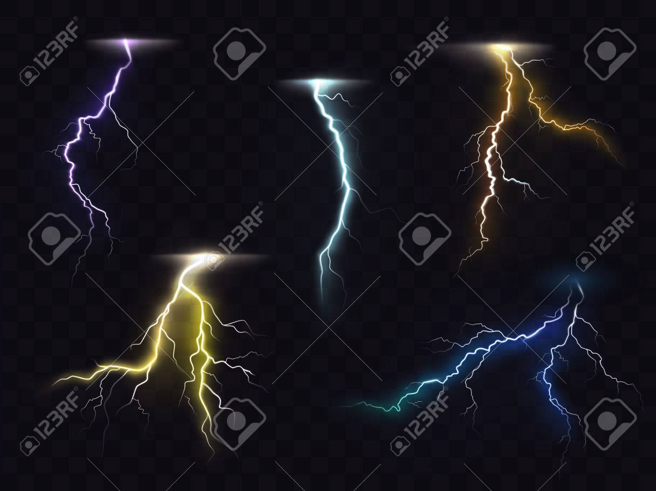 Colored Lightning Bolt Vector Set On Transparent Background