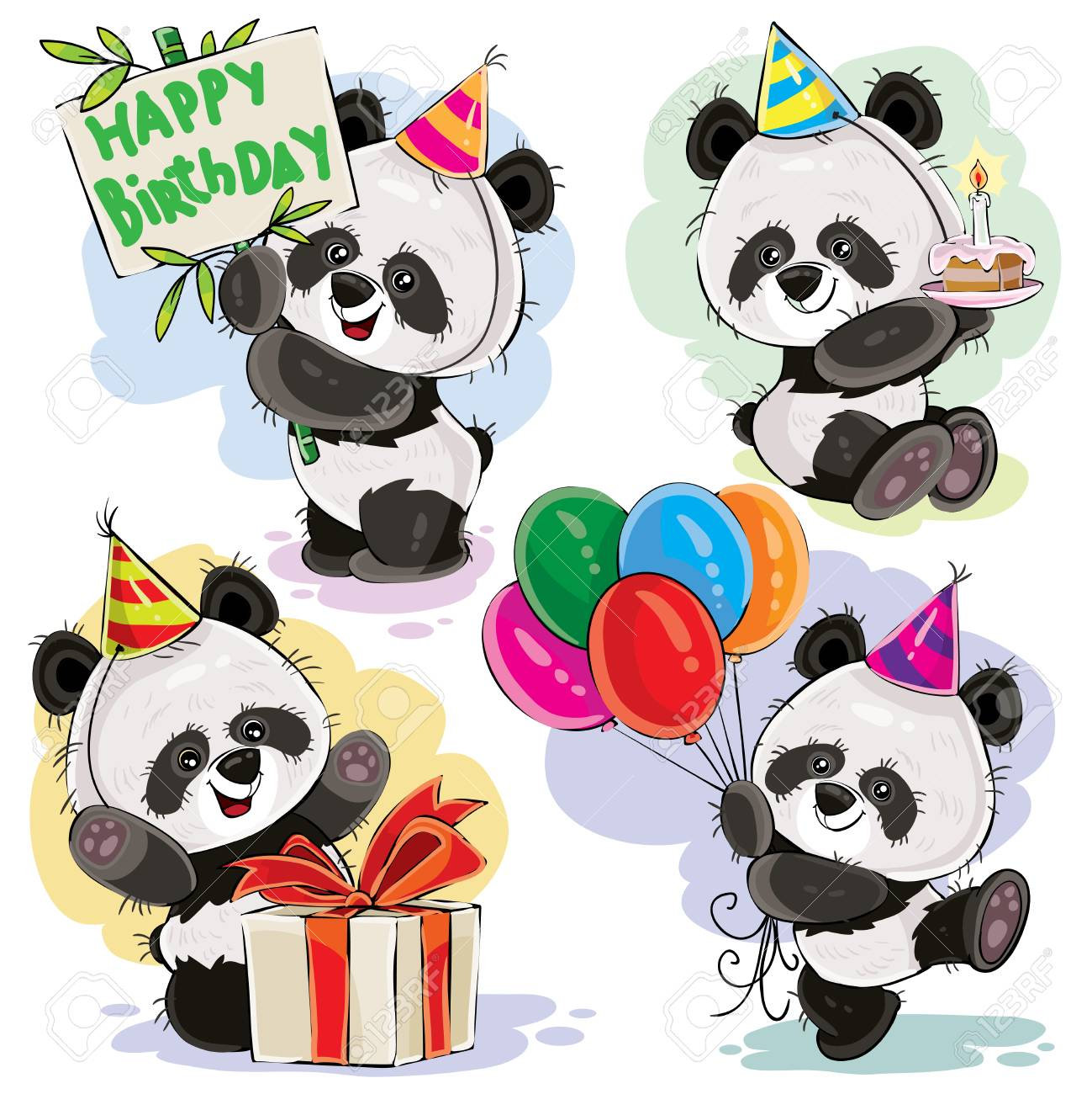 Cute Panda Bears Baby Cartoon Characters Celebrating Birthday With Cake Balloons And Present In Box