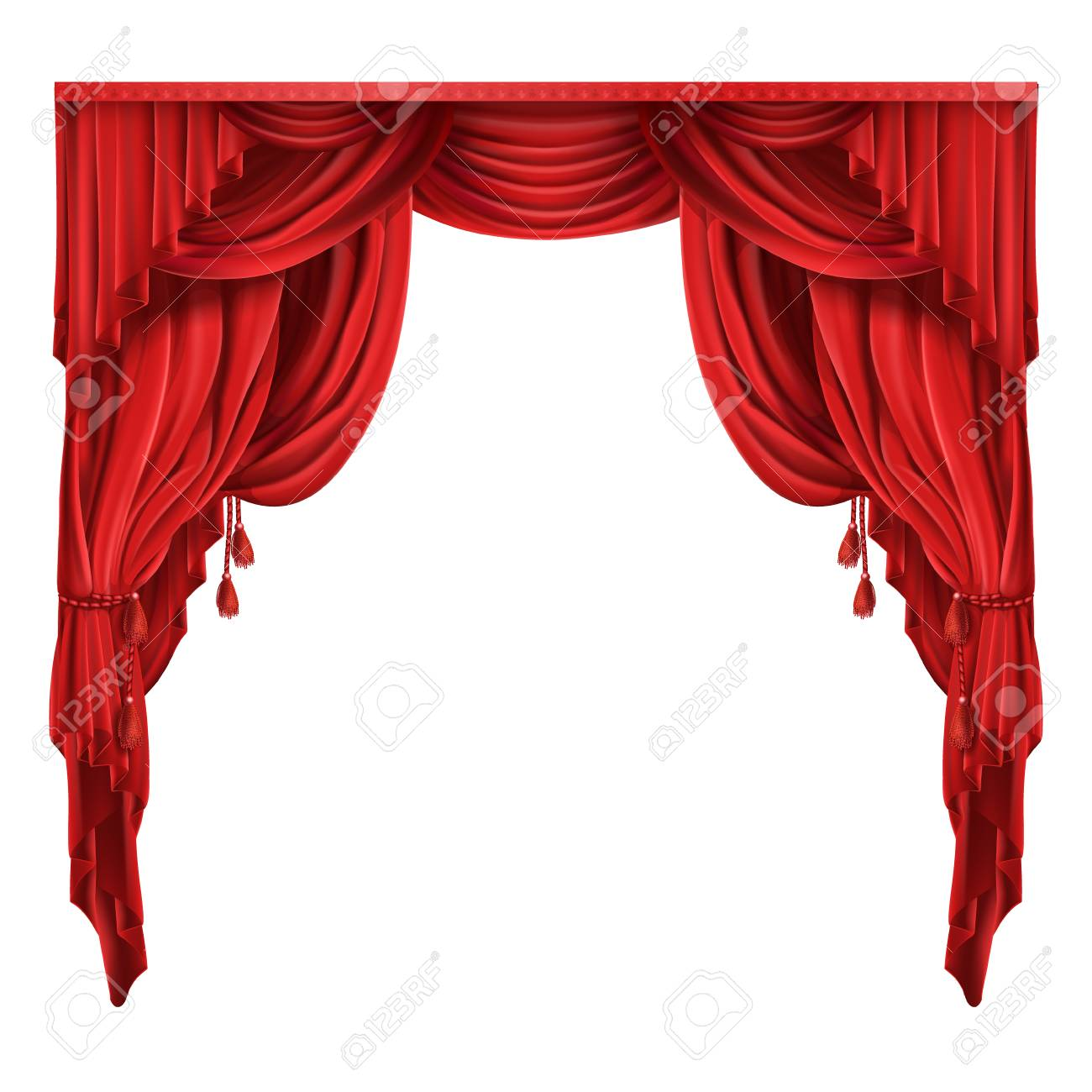 Heavy Red Curtains Or Drapes In Victorian Style Gathered With