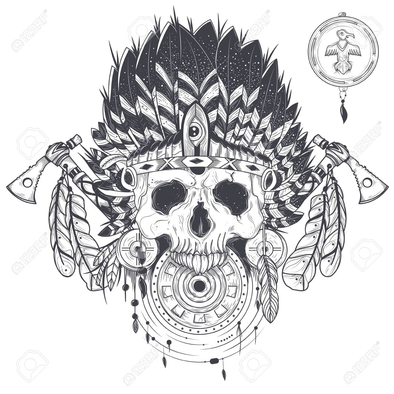 Illustration Of A Template For Tattoo With Human Skull In
