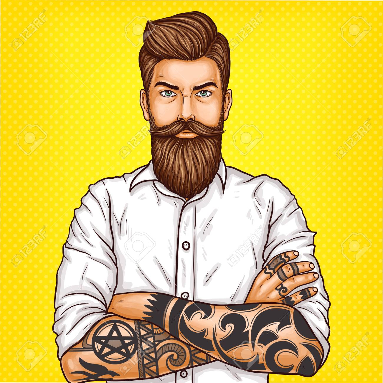 pop art illustration of a brutal bearded man, macho with tatoo folded his arms over his chest - 89842422